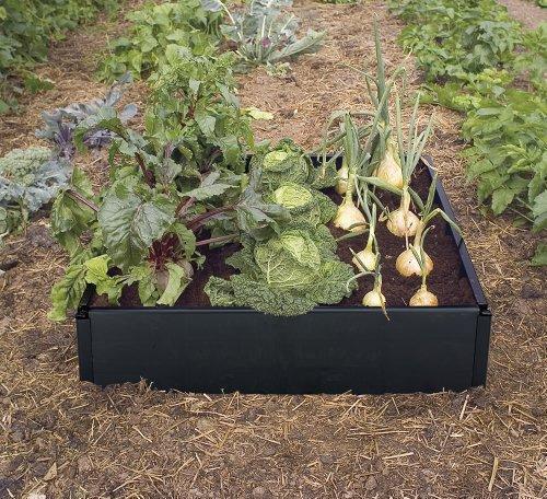 Garland - Letto rialzato per verdure, 97,5 x 97,5 x 25 cm, colore: Nero