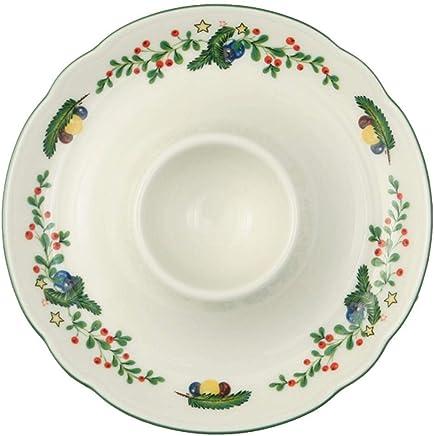 Preisvergleich für Seltmann Weiden Eierbecher mit Ablage Marieluise Weihnachten, Hartporzellan, Grün/Bunt, 12.5 x 12.5 x 2.5 cm