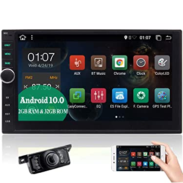 Android 10.0 Double Din Car Stereo with Backup Camera Bluetooth Car Radio GPS Navigation in Dash 2GB 32GB Head Unit 7 inch Touchscreen WiFi Mirrorlink Car Entertainment Multimedia Play USB SD