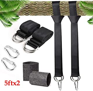 Tree Swing Straps Kit,Two 5ft Adjustable Straps Hold 2000lbs,Two Safer Lock Snap Carabiner Hooks Perfect for Tree Swing & Hammocks, Perfect for Swings,Easy Picture Instructions (5ft)