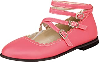 Atyche Women's Flats Mary Janes Strappy Shoes Closed Toe Ankle Strap Dolly Summer Shoes