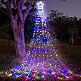 "(New) FUNIAO Christmas Decorations Outdoor Star Lights, 317 LED Curtain String Lights, Star Hanging Christmas Tree Topper Lights with 12"" Star for Holiday, Wedding, Party, New Year (Multicolor)"