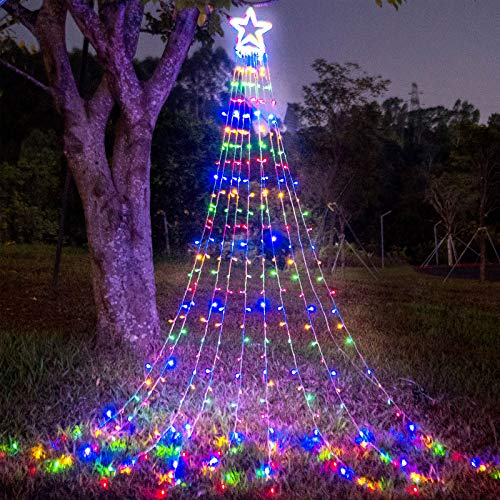 """(New) FUNIAO Christmas Decorations Outdoor Star Lights, 317 LED Curtain String Lights, Star Hanging Christmas Tree Topper Lights with 12"""" Star for Holiday, Wedding, Party, New Year (Multicolor)"""