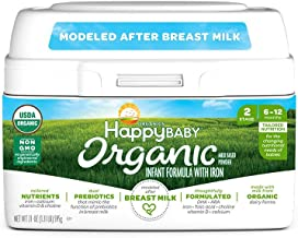 Happy Baby Organic Infant Formula Milk Based Powder with Iron Stage 2, 21 Ounce(Packaging May Vary)