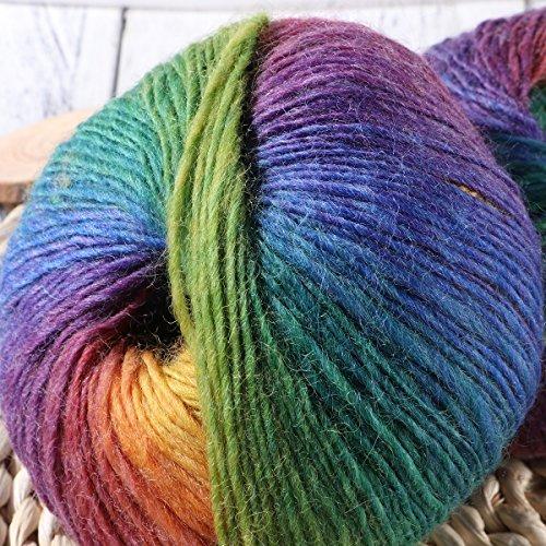Dos hilados de lana,algodón arco iris,lana blanda en color,hilados de coser y punto