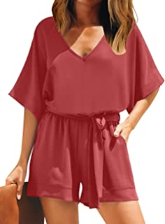 Utyful Women's Summer Casual V Neck 3/4 Bell Sleeve Belted Chiffon One Piece Romper Shorts