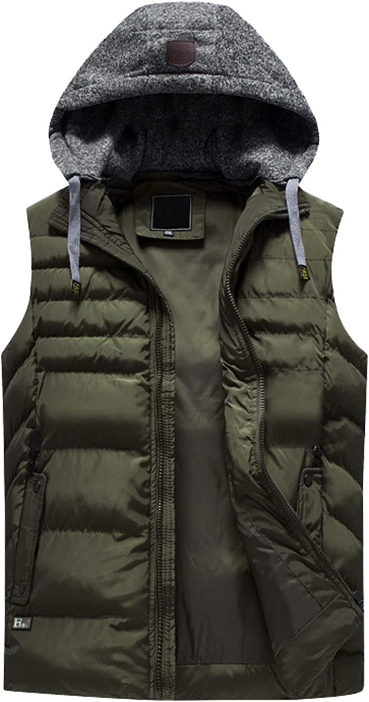 Flygo Mens Plus Size Puffer Sleeveless Vest Jacket with Removable Hooded