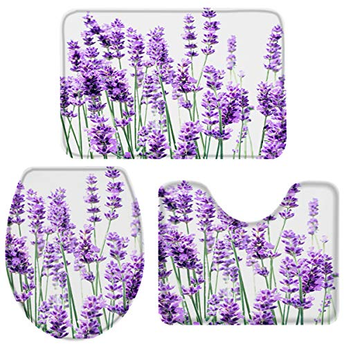 3-Piece Bath Rug and Mat Sets, Purple Lavender Flower Non-Slip Bathroom Doormat Runner Rugs, Toilet Seat Cover, U-Shaped Toilet Floor Mat Nature Floral Plant Large