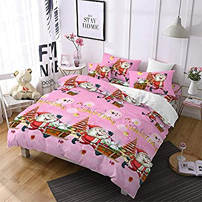Christmas Duvet Cover King Size,Pink 3D Bedding Santa Cluas Home Decor Gifts for Girls Kids