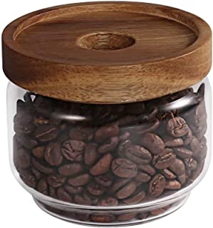 77L Glass Storage Jar, 8.85 FL OZ (262 ML), Glass Storage Jar with Sealed Wooden Lid - Portable Clear Food Storage Jar for Serving Candy, Snack, Honey and more