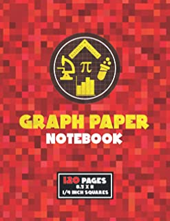 Graph Paper Notebook: Composition Notebook for Math Science | 4 squares per inch ( 1/4 inch grid ) quad ruled | Gift for K...