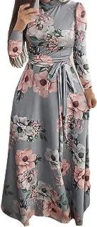 Women Long Dress Boho Maxi Flower Print Long Sleeve Dress Ladies Holiday Dress