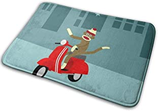 Omigge Bathroom Rug Mat (24 X 16 Inch) Sock Monkey Scooter,Extra Soft and Absorbent Rugs, Machine Wash/Dry,Floor Mats for Tub, Shower and Bath Room Bath Mat