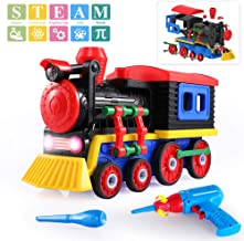 TEMI Take Apart Toys Train Set, STEM Construction Toys Kit w/ Sounds & Lights, Educational Playset w/ Battery Powered Drill & Tools for Kids Boys Girls 3 Years Old and up - Build Your Own Train Toys