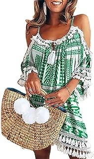 Women's Sumeimiya Off Shoulder Dress, Halter Beach Dress Tassel Short Cocktail Sundress