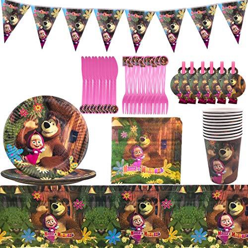 Birthday Party Set 68 Pezzi Masha e Orso Piatti Tazze Tovaglioli Posate Banner Tovaglia Kit di Decorazione Stoviglie di Compleanno, Stoviglie Colorate per Feste di Compleanno per Bambini