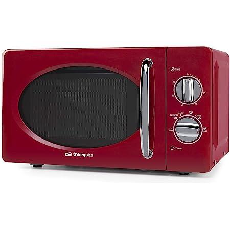 Orbegozo MI2020 Micro-ondes avec 20 litres de capacité, 6 niveaux, minuterie jusqu'à 30 minutes, design vintage, 700 W de puissance, acier, rouge