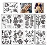 yyuezhi 12 Hojas de Tatuajes Falsos de Cuerpo Brazo Indio Tatuajes Temporales Flor Brazo Tatuaje Negro Indio Brazo Tatuajes Tatuaje Tatuaje Impermeable Mandala Flor Negro Tatuaje Temporal