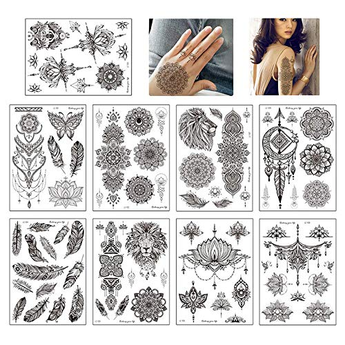 yyuezhi Tatuaggi Temporanei di Pizzo Indiano Tatuaggio Tatuaggio Temporaneo Nero Fiore Mandala Feather Tattoo Stickers Adesivi per Tatuaggi Impermeabili Neri di Zlta Qualità 9 Fogli