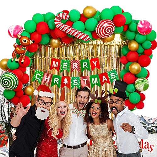 Merry Christmas Red Green Decoration Balloons Santa Snowman Christmas Foil Balloons Christmas Party New Year Decorations