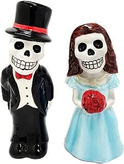 Day of The Dead Blue & White Sugar Skulls With Rhinestones Ceramic Salt Pepper Shakers Figurine Set