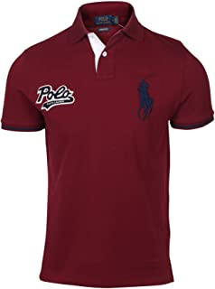 Polo Ralph Lauren Mens Custom Slim Fit Big Pony Polo Shirt (XL, Red)