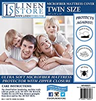 (Twin) - Microfiber Zippered Mattress Cover, Bed Bugs Shield, Dustmites Protector, Hypoallergenic (Twin)