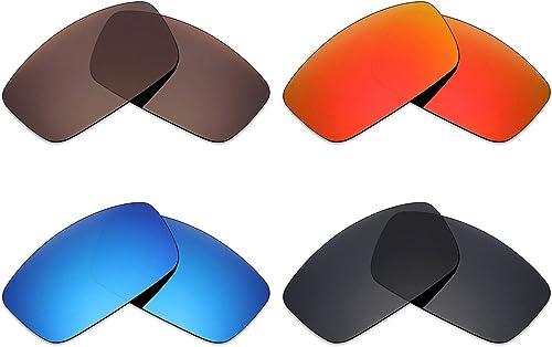 Mryok 4Paires Polarisées Verres de Rechange pour Spy Optic Logan Lunettes de Soleil Stealth Noir Rouge Feu Ice Bleu Bronze Marron