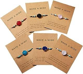 Friendship Wish Druzy Charm Bracelets Set Adjustable Handmade String Bracelets with Message Card Gift for Women Girls