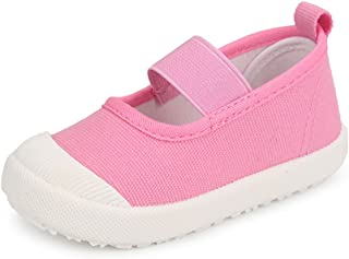 XIPAI Toddler Girls Cute Canvas Shoes Slip-on Casual Lightweight Sneakers