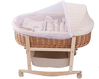 GOUO@ Baby Moses Korb Wiege Baby Korb Tragbare Auto Einkaufskorb Rattan Weidenkorb H/ängekorb Babybett