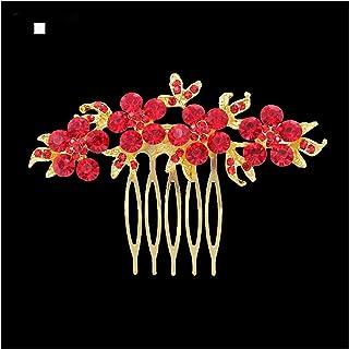 Hair Clip Gold Color Floral Bridal Hair Combs Wedding Hair Jewelry For Women Tiara Red Hair Needles Brides Hair Accessorie...