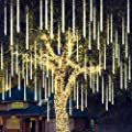 Joiedomi Christmas Meteor Shower Lights Falling Rain Drop Icicle String Lights 540 LEDs 10 Tube 50cm Warm White for Christmas Holiday Party Home Patio Outdoor Decoration