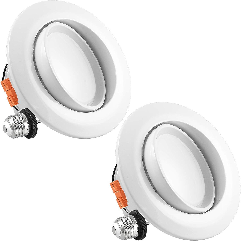 Luxrite 4 Inch Gimbal LED Recessed Light, 10W, 3000K Soft White Dimmable, Directional Ceiling Light, 720lm, Energy Star & ETL Listed, CRI 90, Damp Location - LED Eyeball Recessed Lighting (2 Pack)