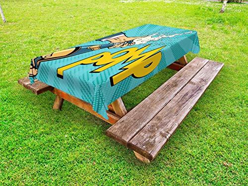ABAKUHAUS Nieuwjaar Tafelkleed voor Buitengebruik, Pomp Champagne Pop Art, Decoratief Wasbaar Tafelkleed voor Picknicktafel, 58 x 84 cm, Turquoise en Multicolor