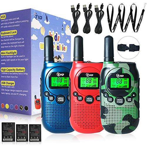 TIDRADIO TD-M3 Walkie Talkies for Kids 22 Channel VOX Rechargeable Kids Walkie Talkies UHF 2 Way Radio Toy Best Gifts for Boys and Girls to Outside 3 Pack