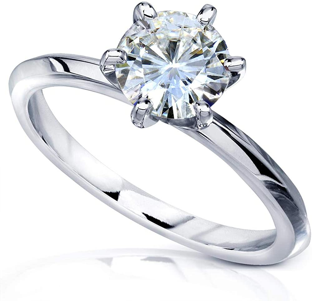 Kobelli Classic Solitaire Round Brilliant Moissanite Engagement Ring 1 Carat 14k White Gold (GH, VS)