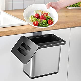 Hanging Trash Can with Lid for Kitchen Cabinet Door, 0.8 Gal/3L Stainless Steel Garbage Can Kitchen Compost Bin for Counte...