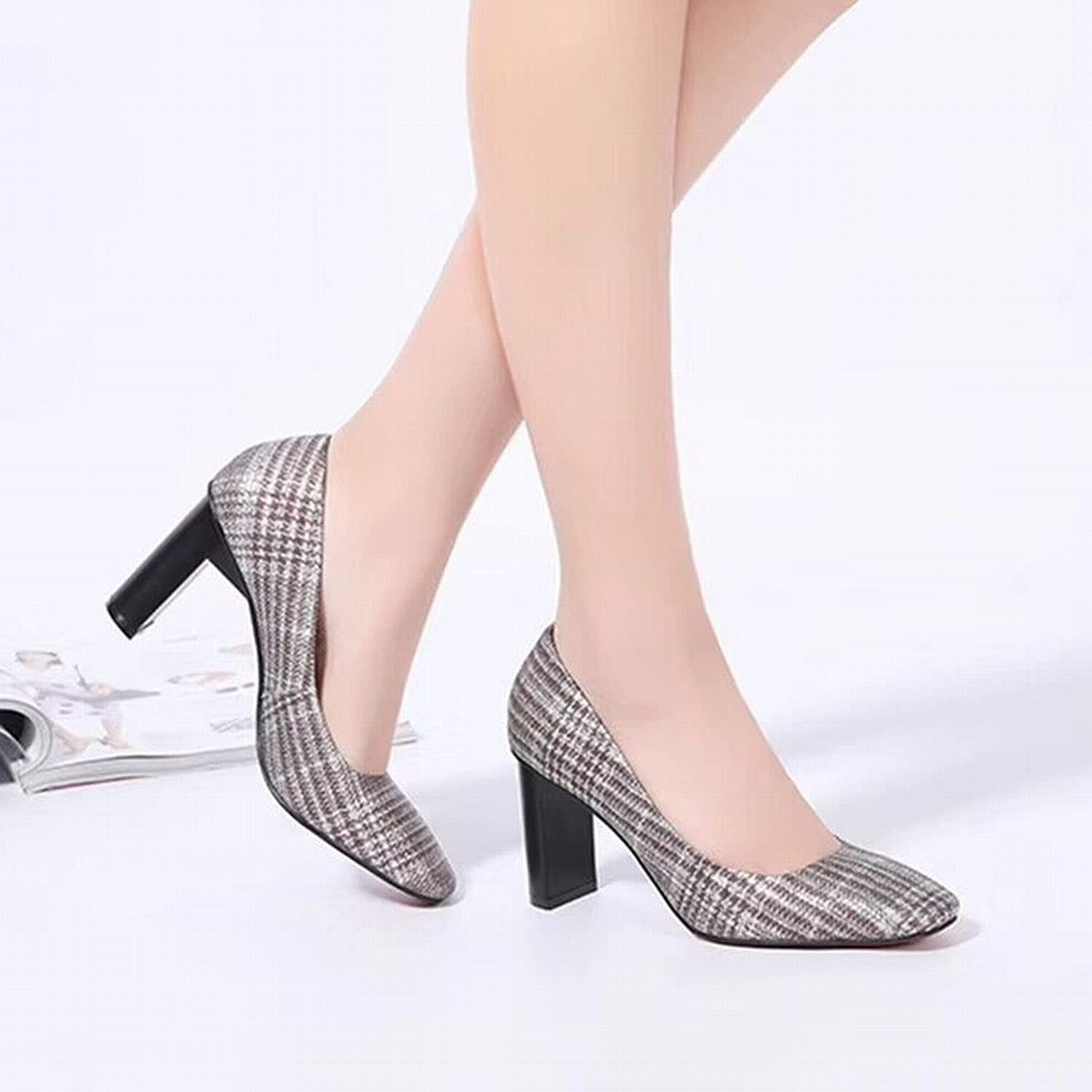 WU Japanische und Koreanische Mode Schuhe Frühjahr und Sommer Frauen 'S Quadrat Rau mit Hochwertigen Leder Schuhe Frauen' S Schuhe High Heels B07LBSCF9W  Menschliche Grenze