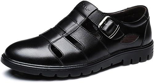 CHENDX Chaussures, Chaussures Montantes Classiques en Cuir de de de Vachette véritable pour Hommes (Couleur   Noir, Taille   43 EU) 5d9
