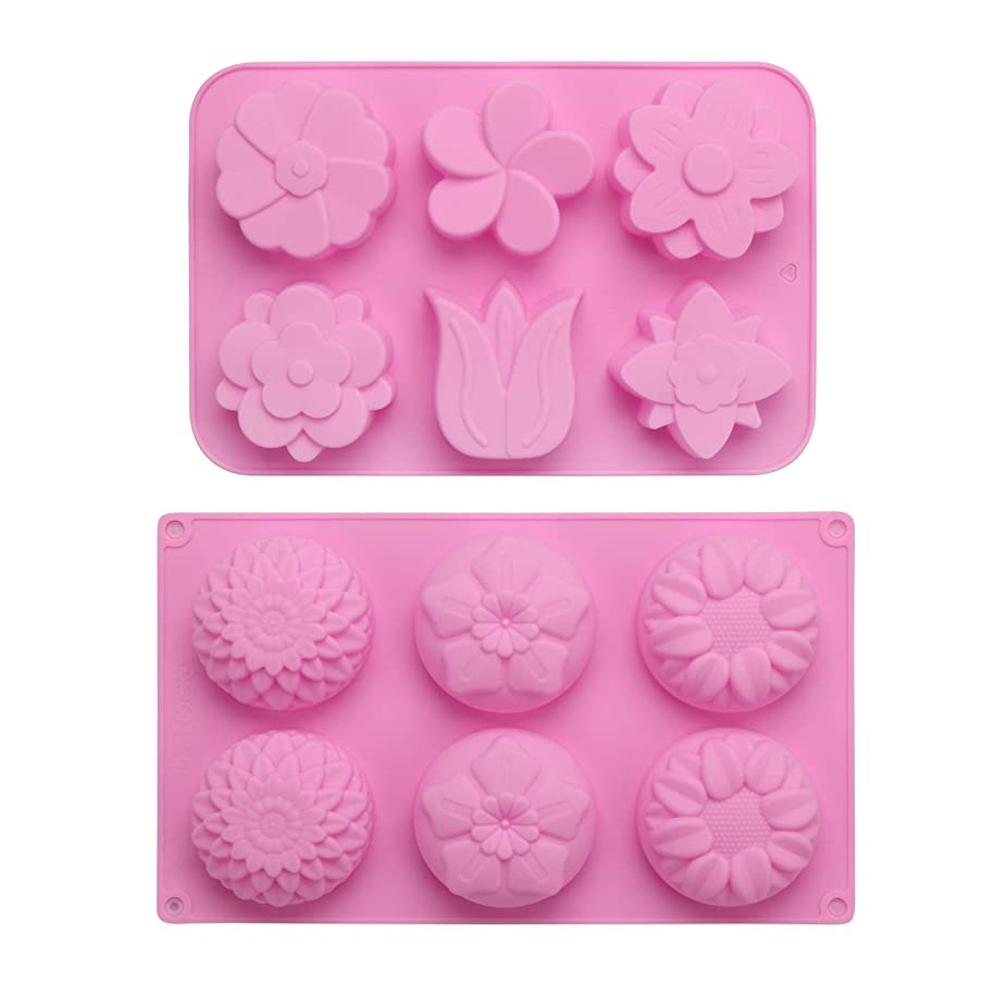 Soap Molds, Beasea 2pcs Flower Soap Making Tool 6-Cavity Cake Mold Silicone Muffin Candy Ice Tray for DIY Homemade Craft Supplies