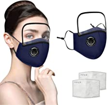 1 Pack Unisex Adults Outdoor Face Protective with Breathing,Washable Reusable Face Protective with 2 Replaceable Filter and Detachable Eye Shield (Dark Blue)