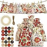 MEISHANG Bolsas para calendario de Navidad, calendario de Adviento para rellenar saquitos, bolsitas de yute, calendario de Adviento, bolsas de regalo, calendario de Adviento para rellenar.