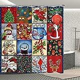 Weihnachts-Duschvorhang Schneemann Weihnachtsmann Badezimmer Vorhang-Set Weihnachtsbaum Kristall Kugel Geschenk Festival Badezimmer Dekoration mit 12 Haken für Kinder Erwachsene 177 x 177 cm