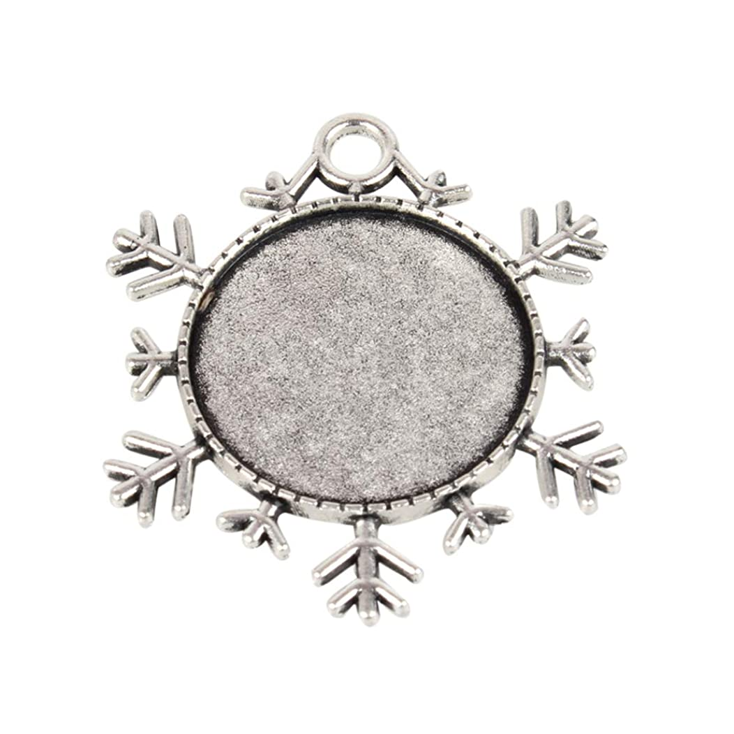 NBEADS 10 Pcs Antique Silver 25mm Alloy Double Sided Snowflake Pendant Cabochon Bezel Blank Settings Christmas Ornaments Cameo Pendants, Photo Jewelry, Necklace Crafts