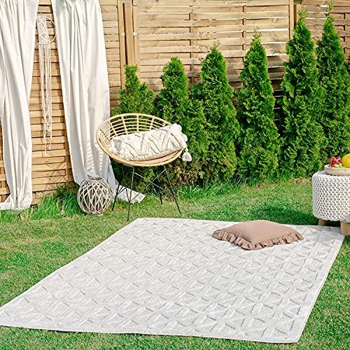 payé Teppich - In- & Outdoorteppich - Weiß Raute Boho - 80x150cm - Teppiche für Balkon Terrasse Garten - Outdoor Wohnzimmer Esszimmer