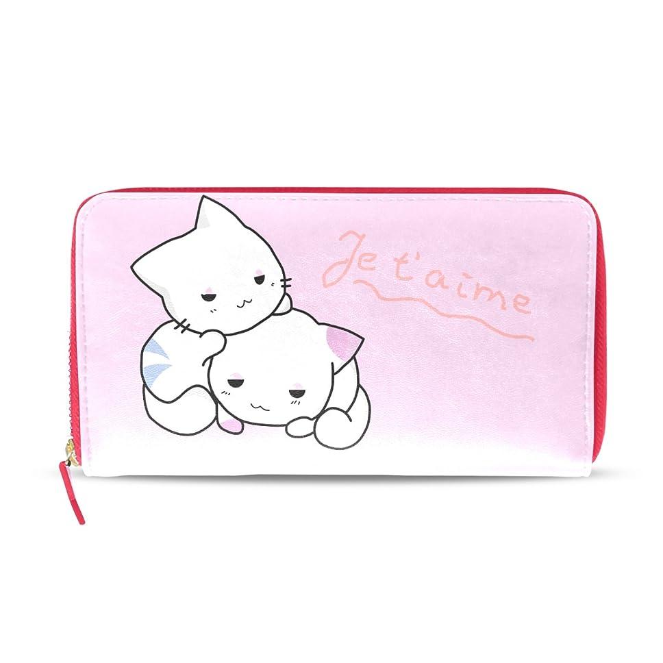 彼女曲げる求めるAOMOKI 財布 レディース 長財布 猫 白 ピンク かわいい ねこ ラウンドファスナー PUレザー 大容量 二つ折り 幅20*丈11cm