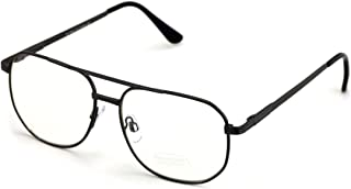 Metal Aviator Clear Len Glasses - Big Lens Spring Hinge Square Fashion Gold Gunmetal