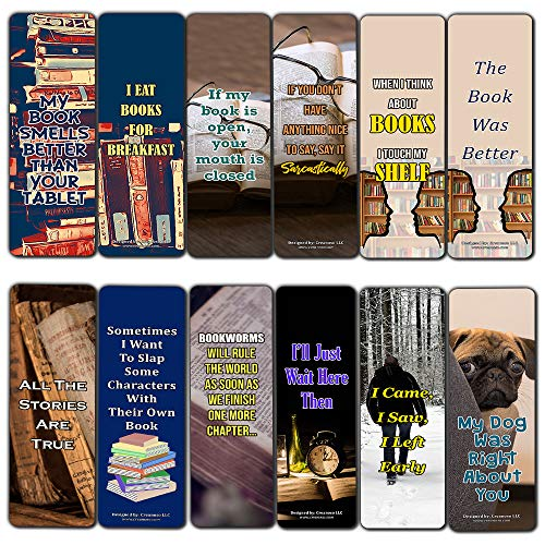 Creanoso Sarcastic Bookmarks Cards (12-Pack) – Premium Gift Set – Awesome Bookmarks for Adult Men & Women, Teens, Boys, Girls – Six Bulk Assorted Bookmarks Designs