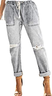Women's Classic Slim Fit Jeans Washed Broken Hole Long Pant